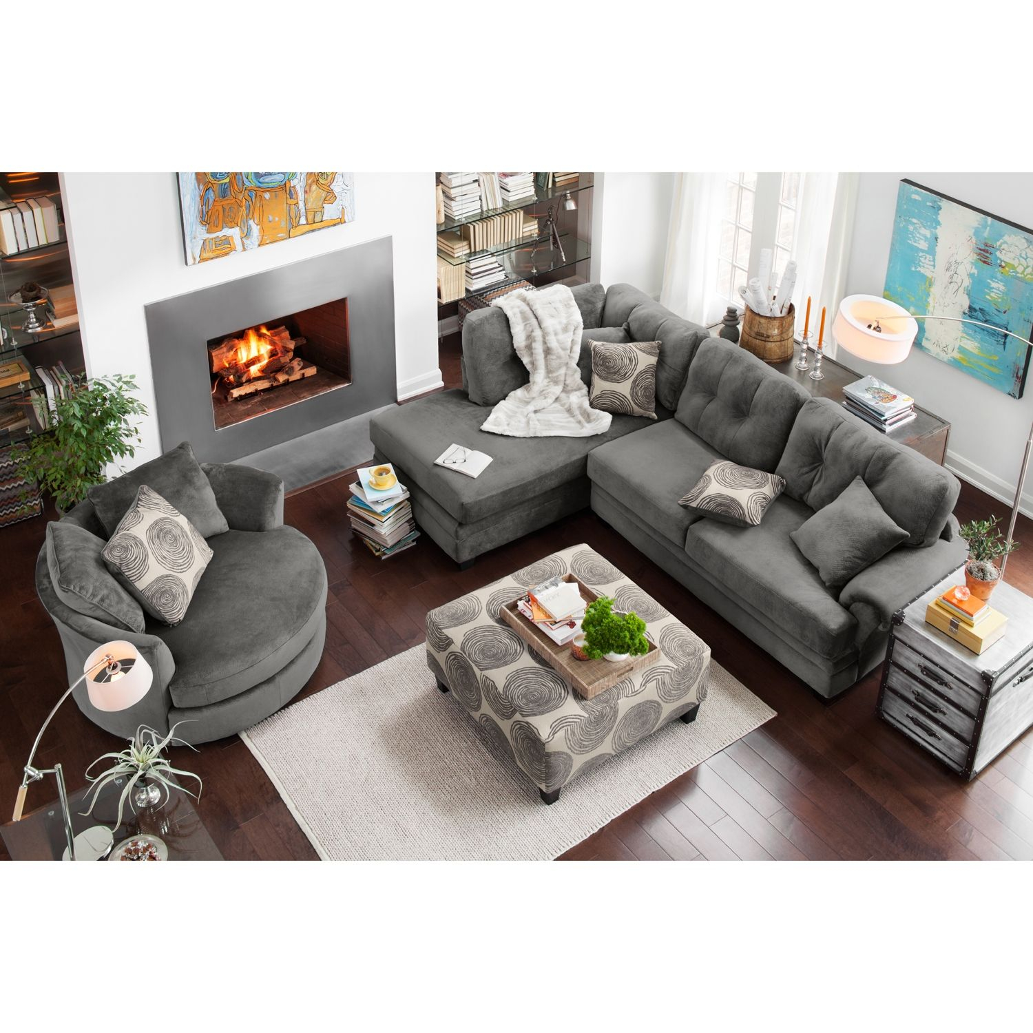 Cordelle 2 Piece Sectional With Chaise And Swivel Chair Set for Chair Set For Living Room