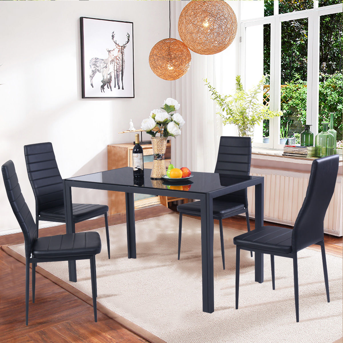 Costway 5 Piece Kitchen Dining Set Glass Metal Table And 4 Chairs Breakfast Furniture pertaining to Living Room Sets For Small Spaces