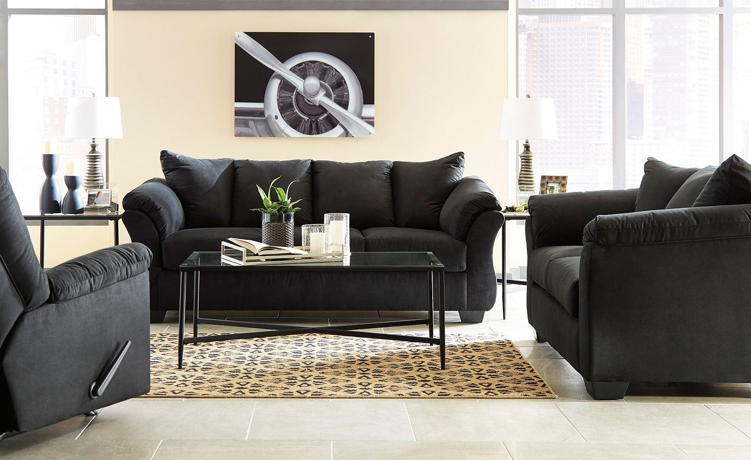 Darcy Black Living Room Set regarding 13 Clever Tricks of How to Improve Black Living Room Sets