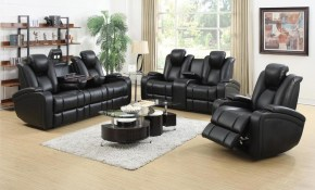 Denatali 3 Piece Black Living Room Set regarding Living Room Set 3 Piece