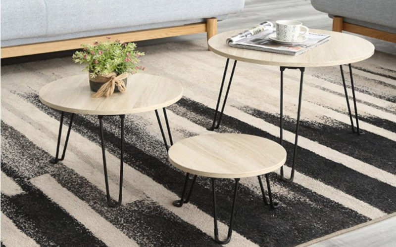 Details About Nesting Set Of 3 Tables Side End Coffee Table Living Room Furniture Wooden Round intended for 15 Clever Designs of How to Makeover Set Of Tables For Living Room