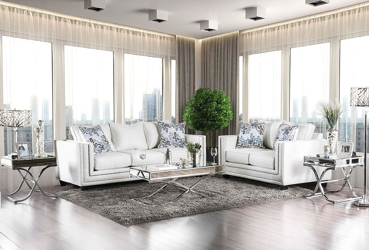 Furniture Of America Ilse Living Room Set In Off White with regard to All White Living Room Set
