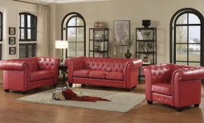 G495 Tufted Living Room Set Red throughout 11 Clever Tricks of How to Make Red Leather Living Room Sets