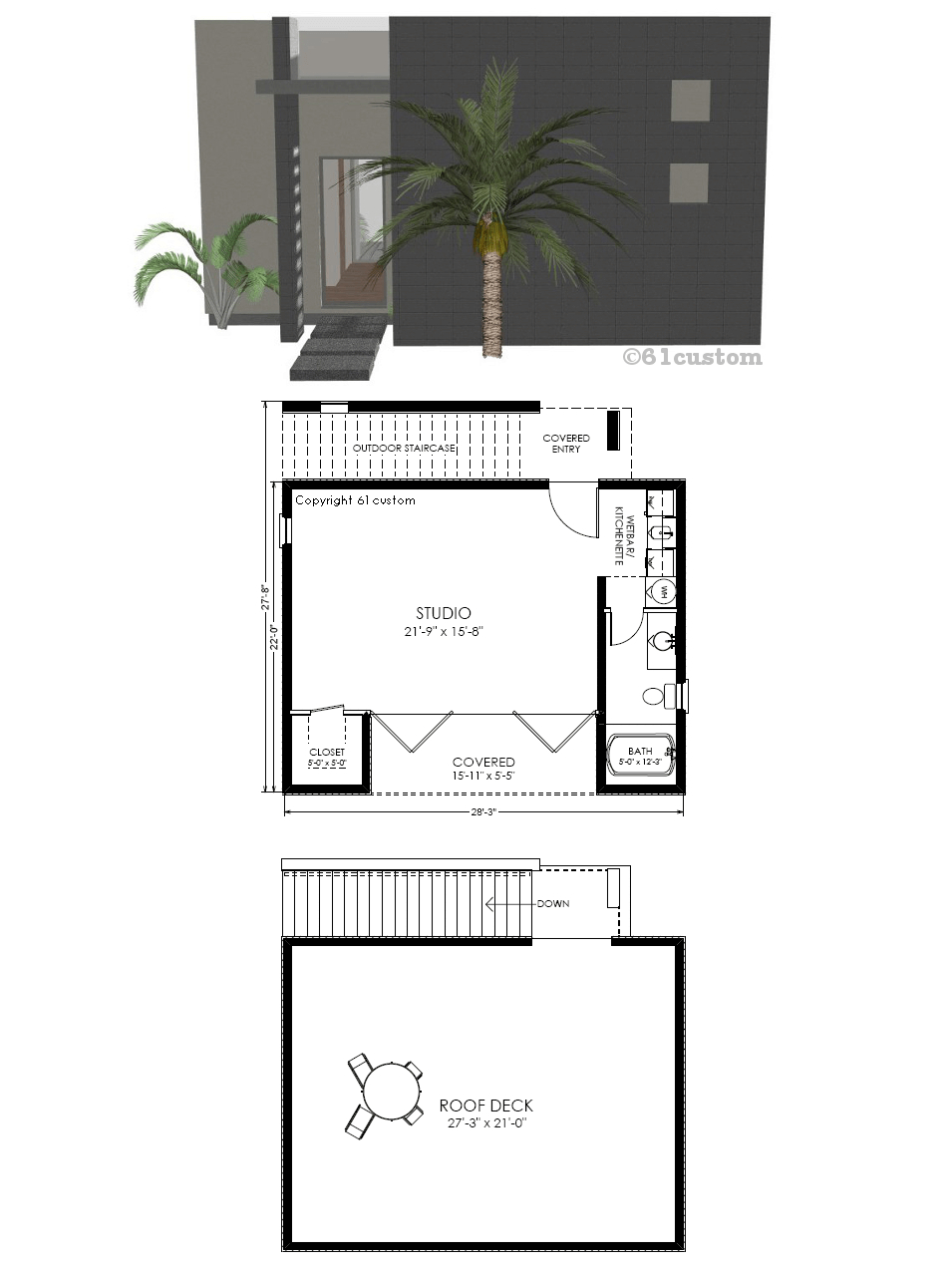 Guest House Plan Modern Studio within 13 Smart Tricks of How to Improve Modern One Bedroom House Plans