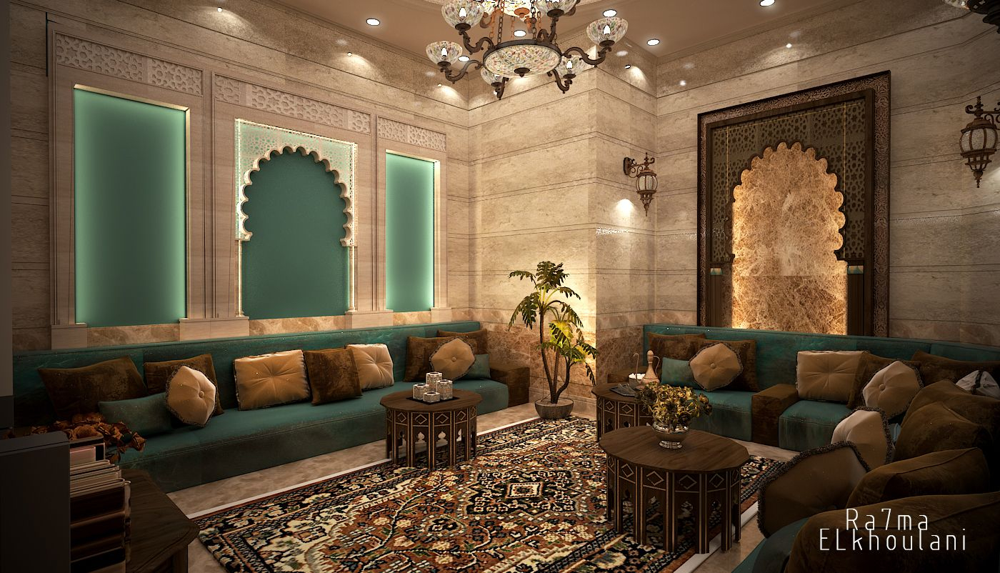 Interior Design Moroccan Sitting Room In Saudi Arabia inside Moroccan Living Room Set