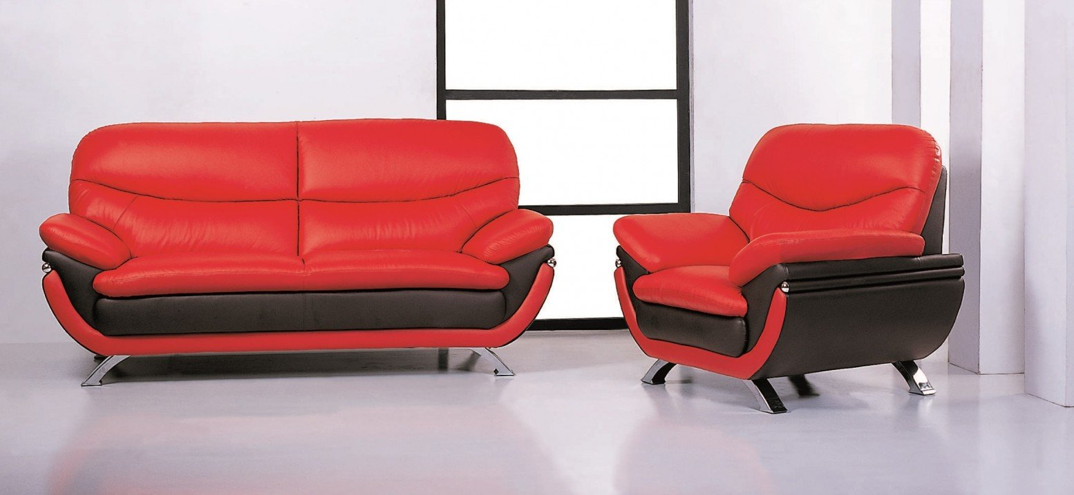 Jonus Top Grain Leather Match Living Room Set intended for Black And Red Living Room Set