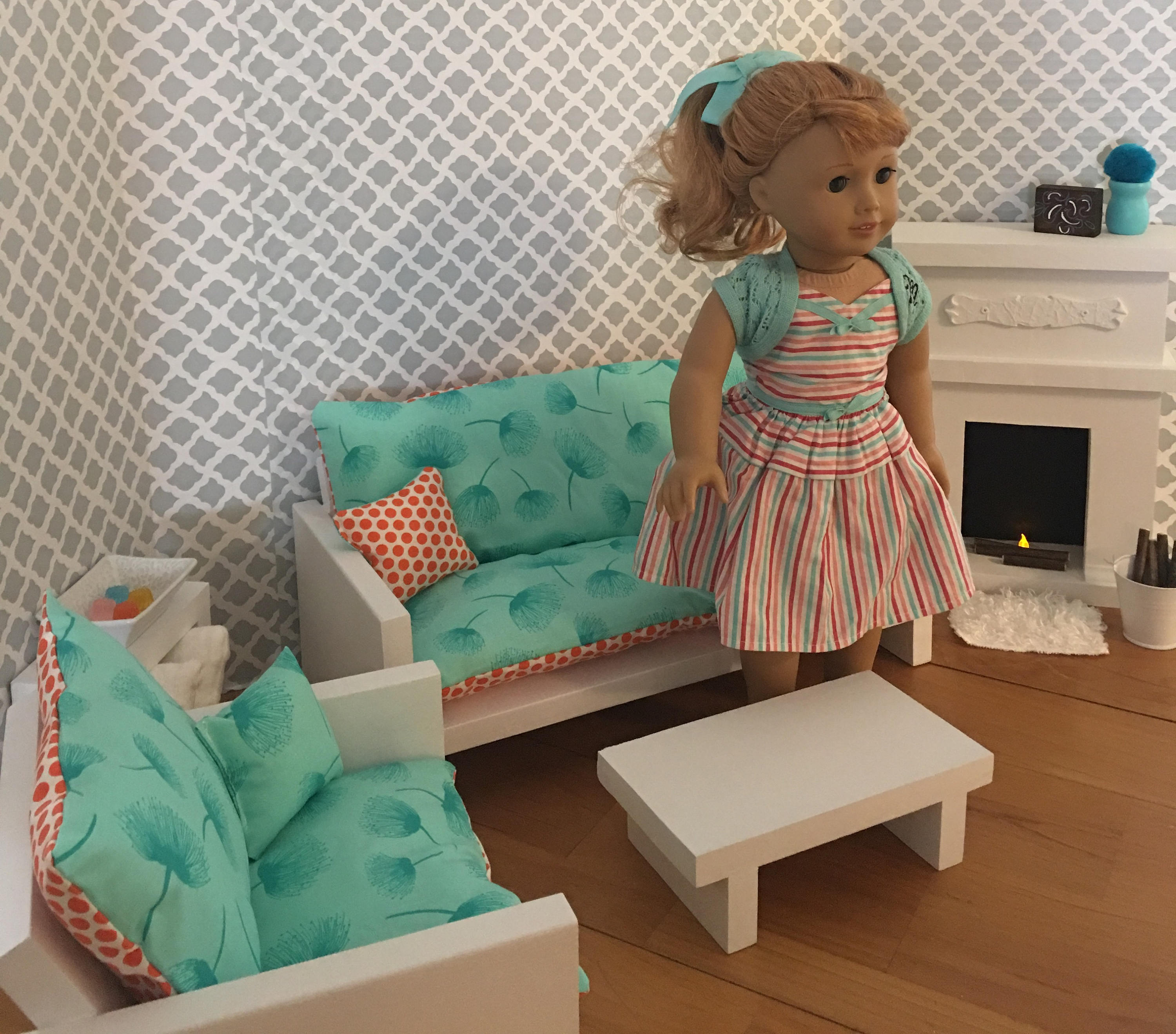 Living Room Set For 18 Dolls Fits The American Girl Dolls pertaining to 18 Inch Doll Living Room Set