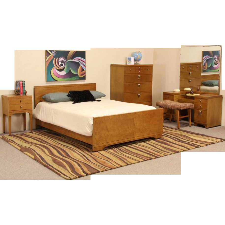 Midcentury Modern 5 Pc Curly Birdseye Maple Bedroom Set regarding 11 Genius Ways How to Build Mid Century Modern Bedroom Suite