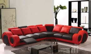 Modern Classic Contemporary Red And Black Bonded Leather Sectional Sofa Set Reclining Loveseat Sofa Corner Living Room Couch with Black And Red Living Room Set