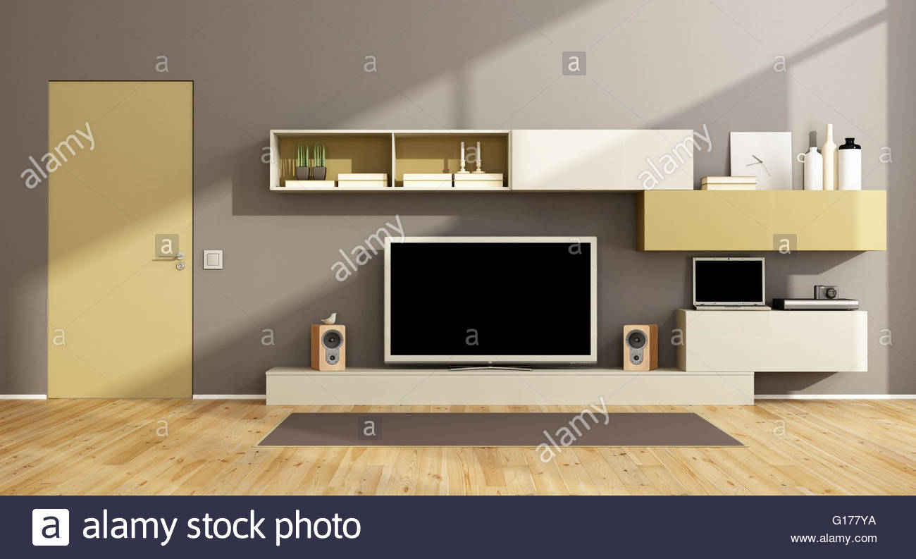 Modern Living Room With Wall Unit Tv Set And Closed Door for 12 Genius Tricks of How to Make Living Room TV Set