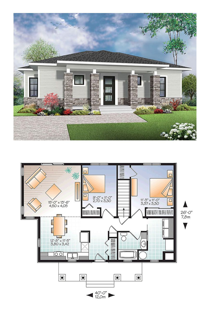 Modern Style House Plan 76437 With 2 Bed 1 Bath House with 11 Some of the Coolest Ideas How to Make Modern 2 Bedroom House Plans