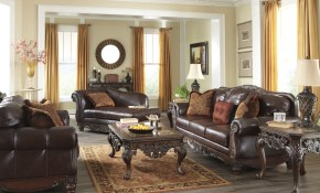 North Shore Plus Coffee Leather 3pc Living Room Set The in North Shore Leather Living Room Set