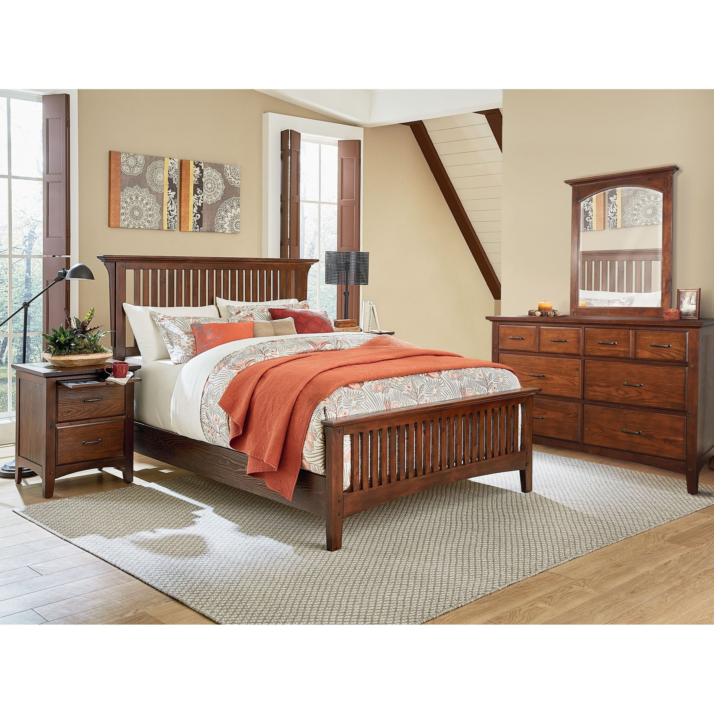 Osp Home Furnishings Modern Mission King Bedroom Set With 2 Nightstands And 1 Dresser With Mirror throughout Modern Bedroom Set King