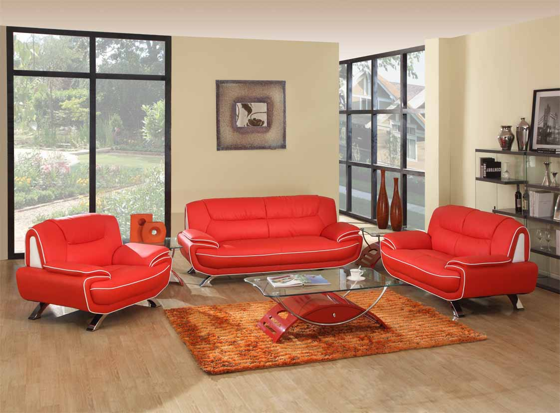 Red White Genuine Leather Living Room Gu405 inside 14 Smart Designs of How to Build Red And Black Living Room Set