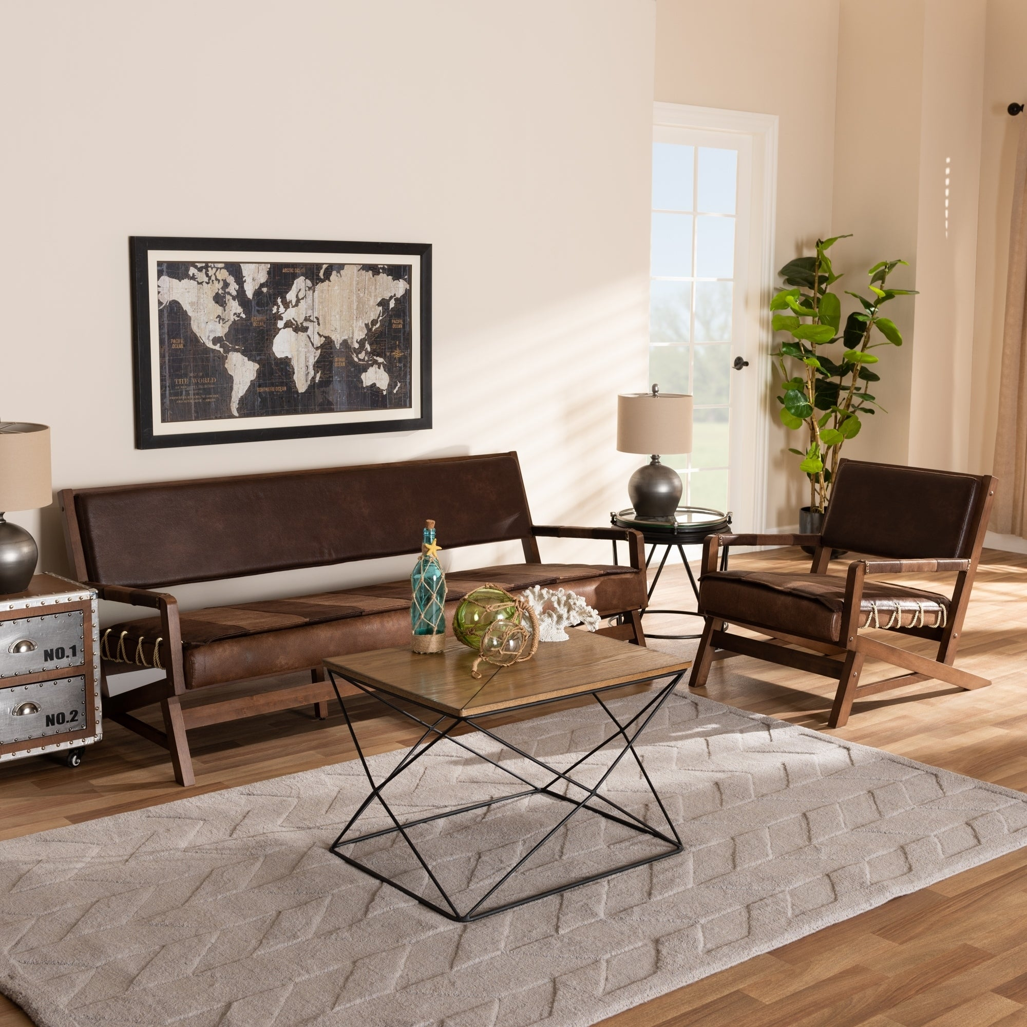 Rustic Brown Faux Leather 2 Piece Living Room Set intended for 15 Some of the Coolest Designs of How to Build Rustic Living Room Sets