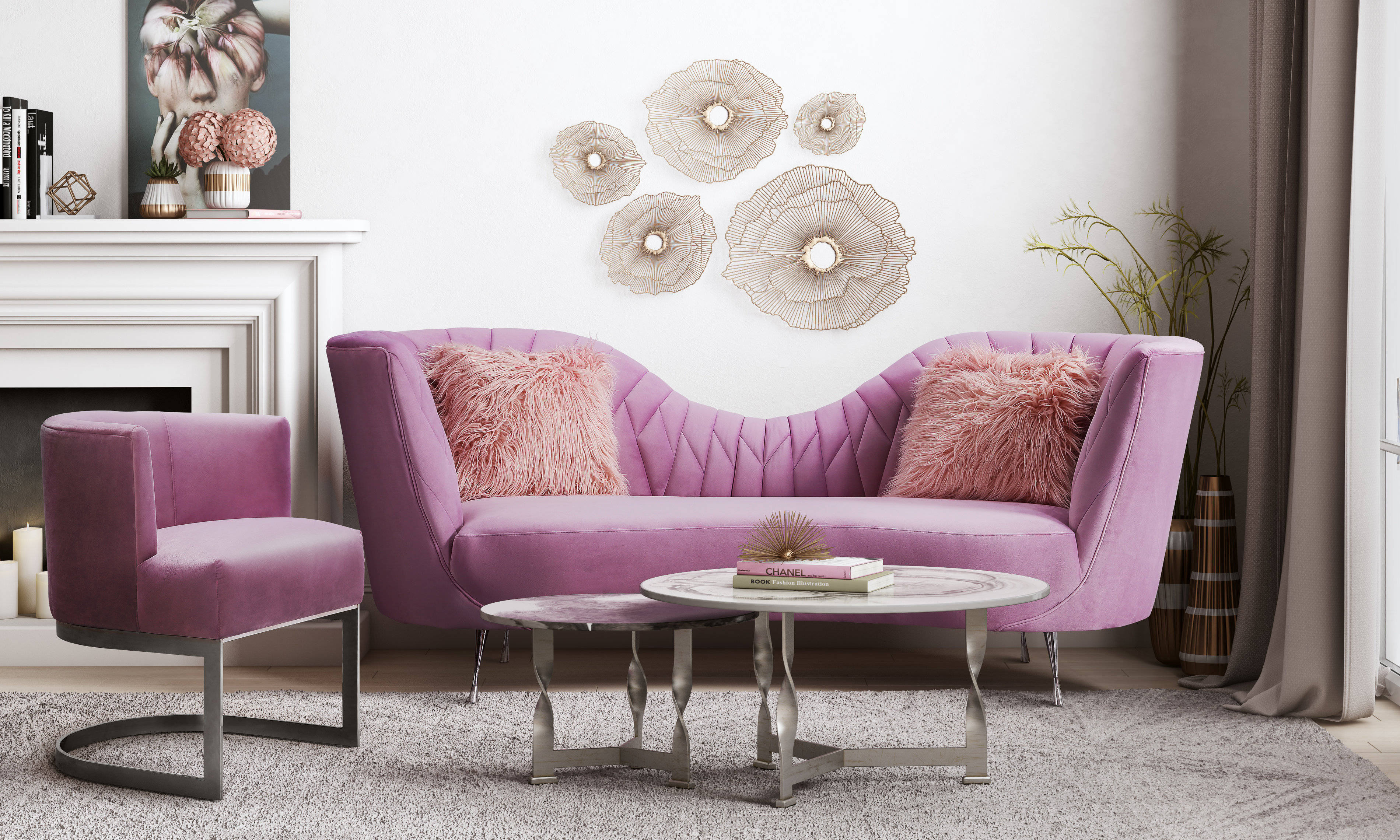 Tov Furniture Eva Blush Velvet 2pc Living Room Set pertaining to 15 Some of the Coolest Initiatives of How to Improve Whole Living Room Sets