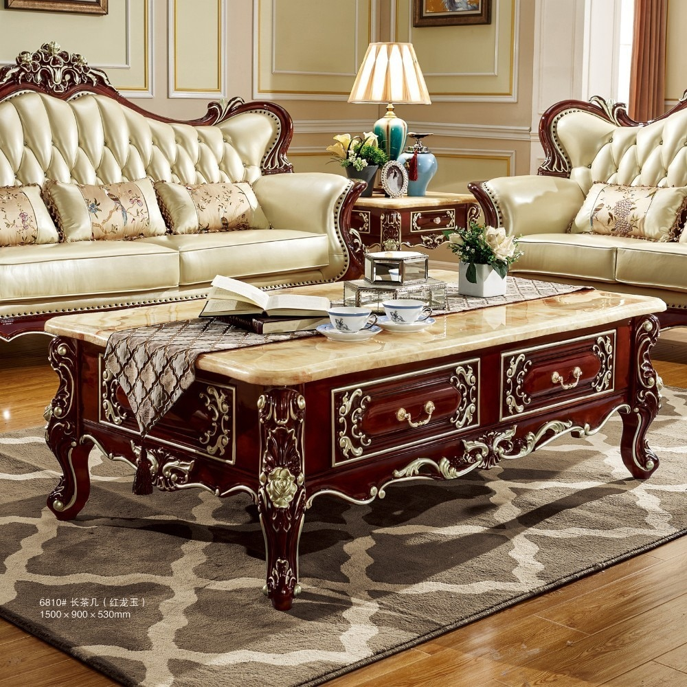 Us 11990 Antique Solid Wood Sofa Center Table For Luxury European Style Furniture Set From Brand Procare In Living Room Sets From Furniture On regarding 13 Clever Tricks of How to Improve Shop Living Room Sets