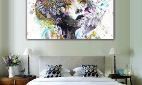 Us 612 28 Off1 Piece Modern Wall Art Girl With Flowers Unframed Canvas Painting For Home Bedroom Art Wall Decoration Wall Pictures Lz003 In in 11 Clever Ideas How to Build Modern Wall Art For Bedroom