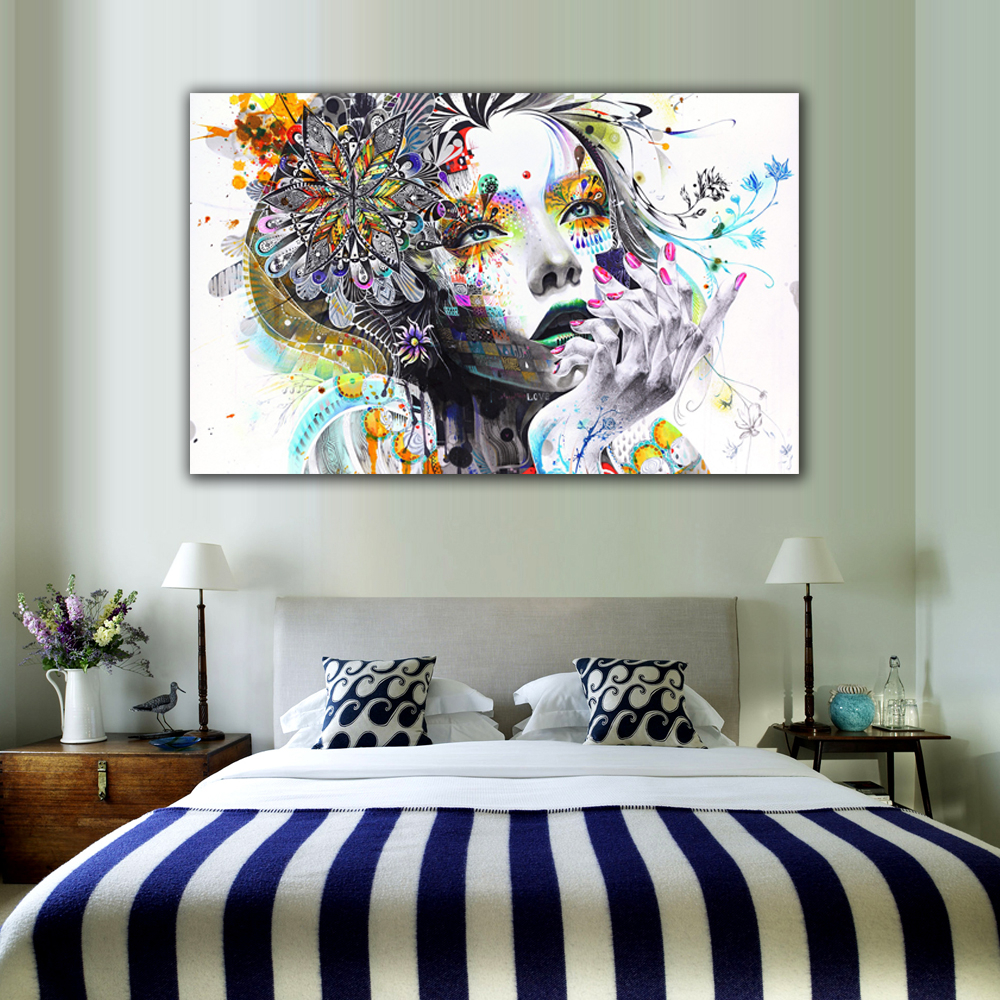 Us 612 28 Off1 Piece Modern Wall Art Girl With Flowers Unframed Canvas Painting For Home Bedroom Art Wall Decoration Wall Pictures Lz003 In within 12 Awesome Tricks of How to Craft Modern Art For Bedroom