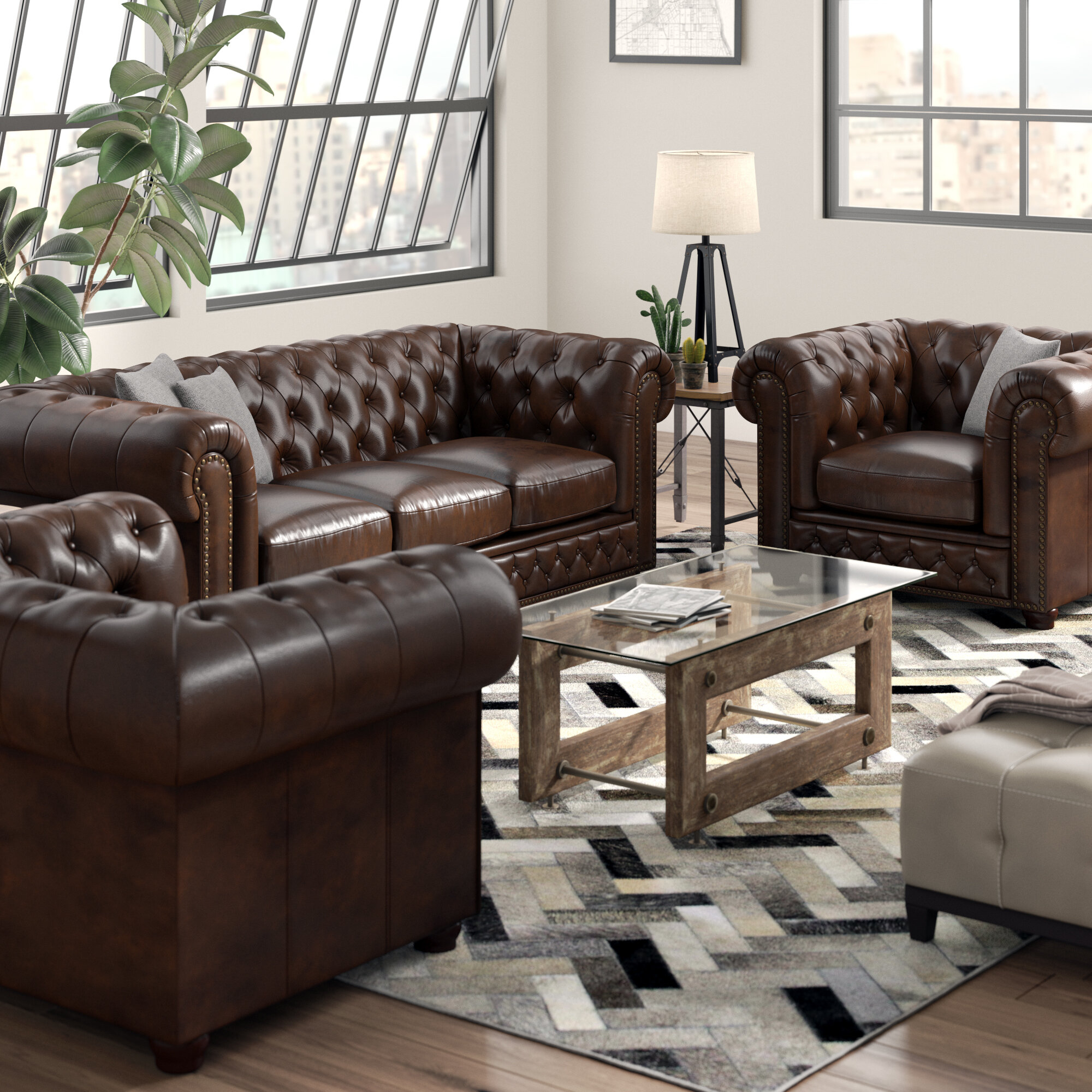 Worcester Leather 3 Piece Living Room Set pertaining to Living Room Complete Sets