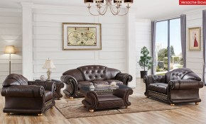 Apolo Living Room Set In Brown Italian Leather within Set Living Room