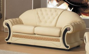 Divani Casa Cleopatra Traditional Leather Living Room Set In Cream pertaining to Cream Leather Living Room Set