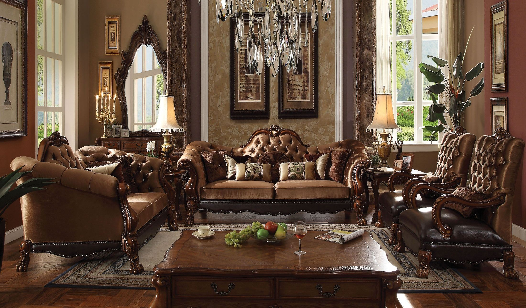 Dresden Golden Brown Velvet And Cherry Oak Living Room Set inside Wooden Living Room Sets