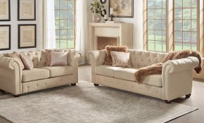 Knightsbridge Beige Fabric Button Tufted Chesterfield Sofa And Seating Inspire Q Artisan with regard to Beige Living Room Sets