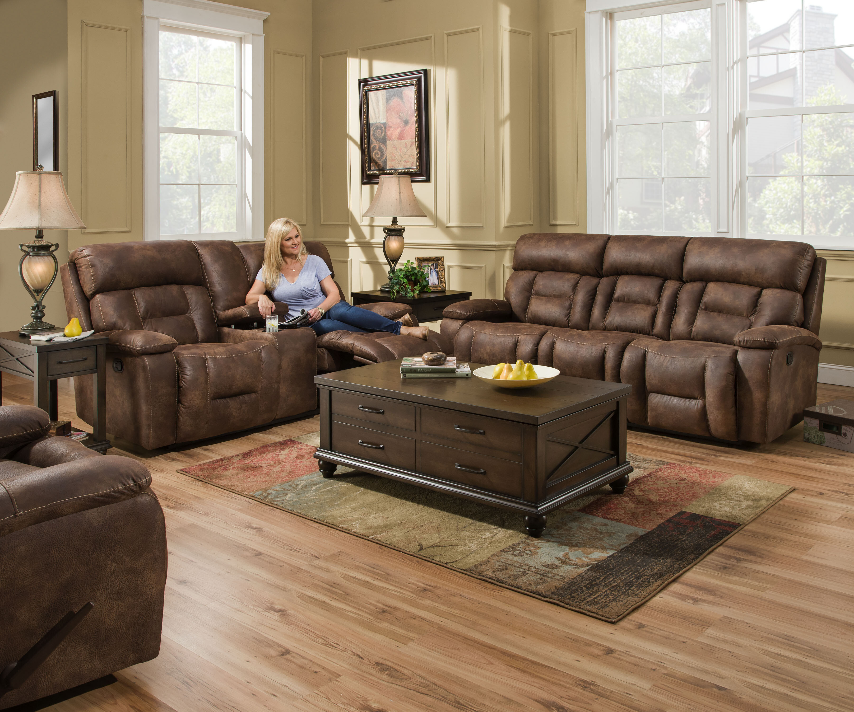Pledger Reclining Configurable Living Room Set with Wooden Living Room Sets