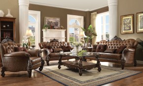 Versailles Two Tone Light Brown Cherry Oak Living Room Set in Wooden Living Room Sets