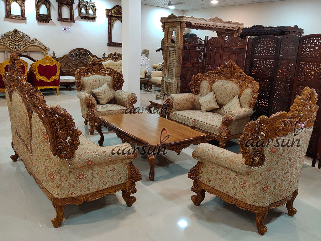 Wooden Sofa Set Both Side Carved Sf 00125 with regard to 13 Awesome Initiatives of How to Upgrade Wooden Living Room Sets