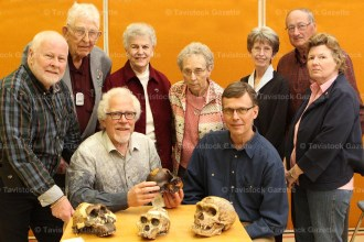 Members of the executive of theTavistock and District Historical Society gather around to view the model skulls on display by guest speaker Dr. Paul Bartlett (seated left) following the Society's Annual Meeting on Saturday, April 2nd. With him is Tim Mosher and standing from the left are Bob Rudy, Harry Lawry, Barb Matthies, Mary Nicklas, Sherrill Calder, Ed Pellow and Denise McLachlin.