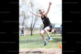 Practicing for the girls' long jump at Field Day at Hickson Central School last Friday is Brian Slattery.