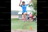 Practicing for the girls' long jump at Field Day at Hickson Central School last Friday is Ally Gibson.