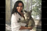 "Maris Nicklas holding a koala at the Australian Native Animal Sanctuary ""Paradise Country"" on the Gold Coast."