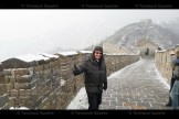 Willard Schwartzentruber gives a thumbs up to his guide on the Great Wall of China.