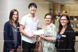 Dr. Kwon Kim of Tavistock Dental makes the first business donation to the Queen's Park Stone Gates fundraising project last week. Accepting the cheque is fundraising chair Shirley Hanlon. At left is Tavistock Dental office manager Deborah Schippling and Customer Services Coordinator Jessica Cook.
