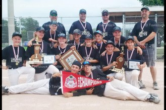 Tavistock PeeWee Champs are, from the left: in front – Luke Hyde and Sam Schwartzentruber; kneeling: Owen Donaldson, Chad Brown, Will Schlotzhauer, Ryan Zeigler, Izac Blum, Kyle Roth, Carter Roth, Clayton Gerber, Brady Roth, Mason McKay; standing coaching staff Head Coach Chad Blum, Jeff Roth, Mark McKay, and Scott Brown.