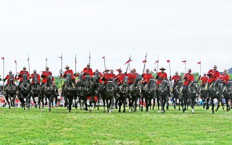 The 32 members of the RCMP Musical Ride perform their charge finalé at the end of the sold-out show Monday night, August 15 in Tavistock.