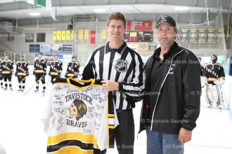 NHL referee Devin Berg of Tavistock was presented with his signed #24 game jersey by Braves President Tim Trachsel on Friday night after dropping the puck to start the 2016-2017 season. Devin played for the Braves for three seasons - 2008-2011.