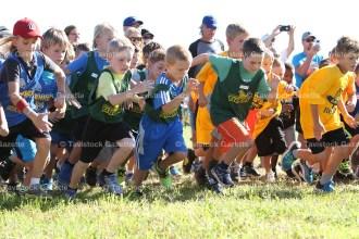 Grade 3 runners, from the left, Gavin Witt, Nathan Raymer and William Lefebvre start their race.