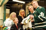 Tavistock Public School student Zach Roth gets his jersey autographed by London Knights players Max Jones (right) and Olli Juolevi last week at the school. At left is Tavistock Principal Nicola Bankes and London Knights box office manager Kaitlin Williams.