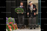 Veterans Greg Dalloway and Harry Lawry place a wreath at the Tavistock Public School remembrance Day Service.