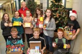 Members of the Tavistock Public School Student Council helped load items for the Salvation Army Food Drive for Woodstock Thrift Store Manager Robert Donaldson (behind). From the left are, in front: Brady Raymer, Bo Schurink, Nick Raymer; standing: Ella Spicer, Makaya Moore, Ashlynn Witt, Sam Roth, Belle Houle, and Logan Rose.