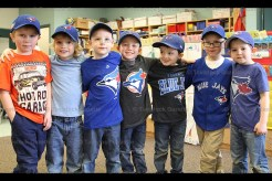 Rachel White's Kindergarten class made up their own ball team to cheer on the Blue Jays. Pictured from left to right are Oliver Strickler, Levi Wiegand, Cullen McCarten, Keaton Roes, Isaac Brenneman, Cameron Kuiack and Isaac Martin.