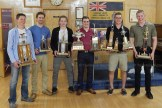 The Tavistock Braves held their Annual Awards Night and Banquet at the Tavistock Legion Hall on Saturday, April 15, 2017. Awards for the season were handed out with the following results, pictured from the left: Most Improved Player - Zac Berg; Playoff MVP - Jake Wiffen; Rookie of the Year - Brody Oliver; Regular Season MVP and Top Scorer - Angus Rowland; Best Defenceman and Most Sportsmanlike Player - Jared Yantzi; and Heart and Soul Award - Kellen Gedies.