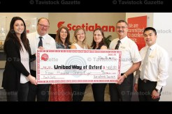 Scotiabank held their 6th Annual Gently-Used Book Sale from April 17th to 28th with matching proceeds donated to United Way of Oxford County. Accepting the cheque from Scotiabank staff was Rachel Robinson, United Way Oxford Resource Development Co-ordinator (left) with Scotiabank Manager Phil Schaefer, Customer Reps Monique Brenneman, Lauren Holdsworth, Customer Service Manager Margaret Herlick, and Financial Advisors Frank Meconi and Jimmy Phimsavanh.