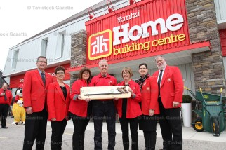 Yantzi Home Building Centre held their official opening on Friday, May 12, 2017 under the new Home Hardware banner. From the left are Doug Shantz, Donna Robertson, Darlene Yantzi, Jim Yantzi, Joyce Ropp, Wendy Culp-Wing and Bill Dixon.