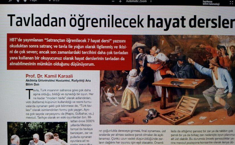 """Kamil Karaali'nin Tavla Yazısı """"Herkese Bilim Teknoloji"""" Dergisinde"""