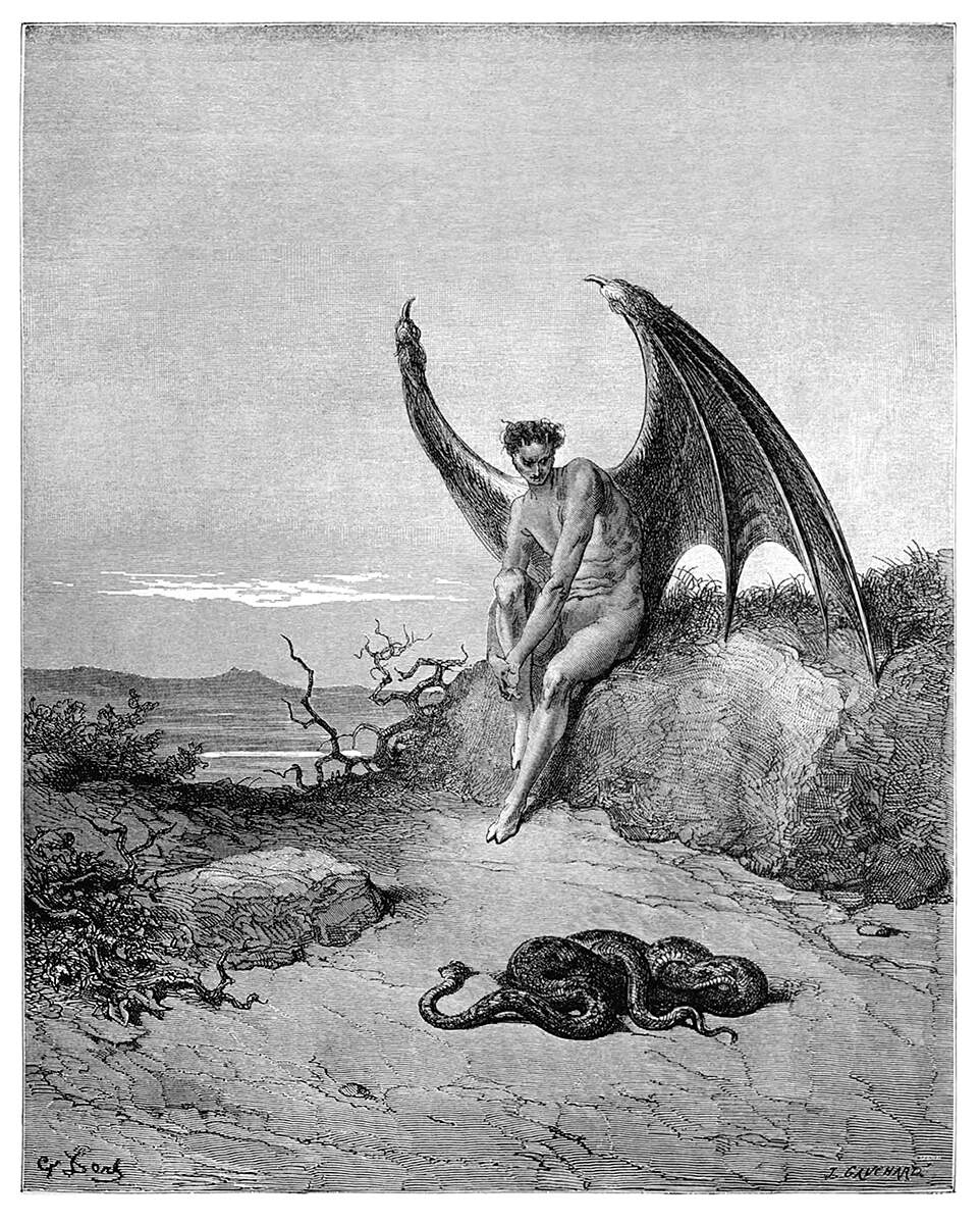 the devil watches snakes in a coil